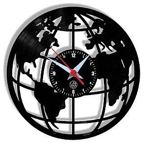 Relógio de Vinil - Mapa Mundi Novo