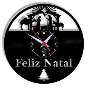 Relógio de Vinil - Natal Jesus Feliz Nata