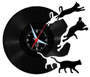 Relógio de Vinil - Gatos Saindo