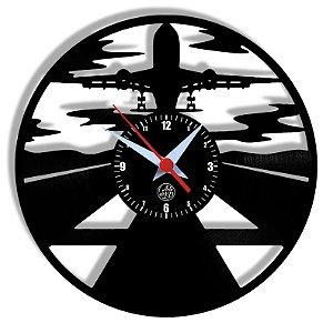 Relógio de Vinil - Avião Aviação