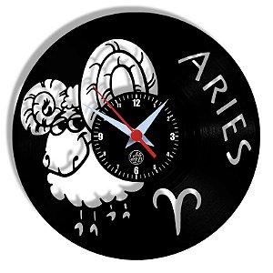Relógio de Vinil - Signos Aries