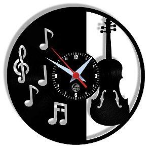 Relógio de Vinil - Violino Instrumento Música