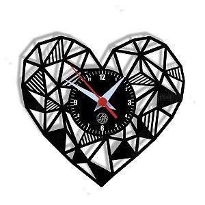 Relógio de Vinil - Coração Geométrico