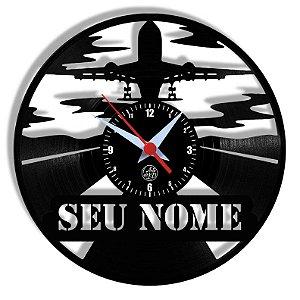 Relógio de Vinil - Avião Personalizado