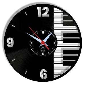 Relógio de Vinil - Piano Instrument Musica