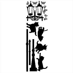 Adesivo - Gatos em Volta do Poste Pets