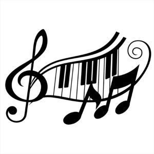 Adesivo - Clave Notas Piano Música