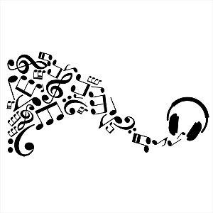 Adesivo - Notas Musicais do Fone Música