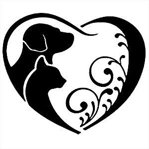 Adesivo - Gato E Cachorro Coração Pets