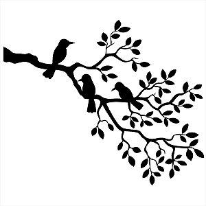 Adesivo - Pássaros Nas Folhas Natureza