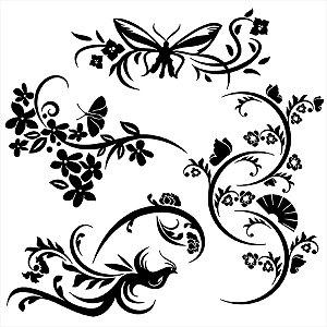 Adesivo - Borboletas E Flores Natureza