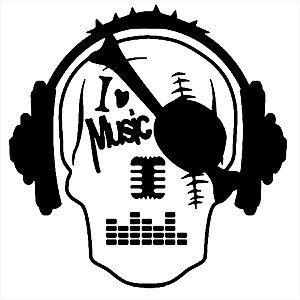 Adesivo - Crânio I Love Music Música