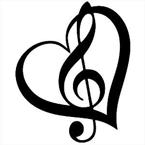 Adesivo - Clave De Sol Coração Música