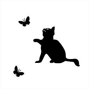 Adesivo - Gatinho com Borboletas Pets
