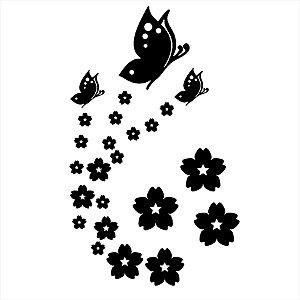 Adesivo - Flores com Borboletas Natureza