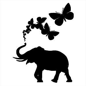 Adesivo - Elefante com Borboletas Natureza