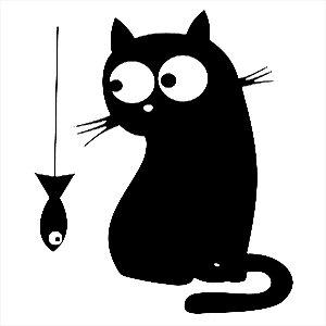 Adesivo - Gato Olhando Peixe Pendurado Pets