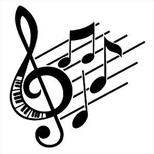 Adesivo - Clave De Sol Teclado Notas Musicais Música