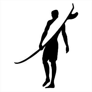 Adesivo - Homem Surfista De Costas Segurando Prancha Esporte