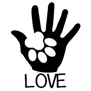 Adesivo - Love Mão E Pata De Cachorro Pets