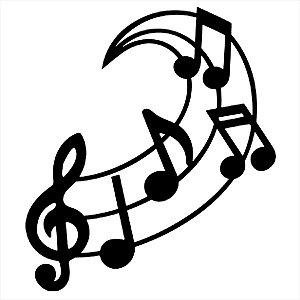 Adesivo - Clave De Sol E Notas Na Pauta Música