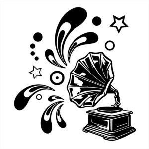 Adesivo - Vitrola Estrelas Sons Música