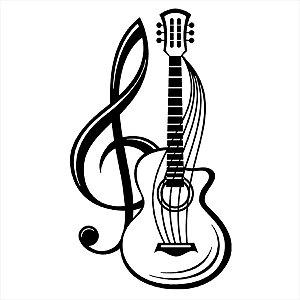 Adesivo - Clave De Sol E Violão Música