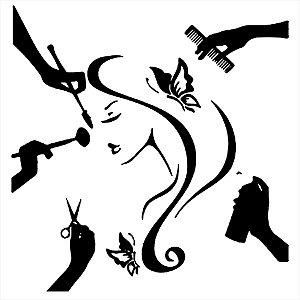 Adesivo - Mulher No Salão De Beleza Mãos Cabeleireiro Profissões