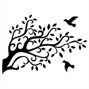 Adesivo - Árvore Folhas E Pássarinhos Natureza