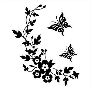 Adesivo - Flores E Borboletas Natureza