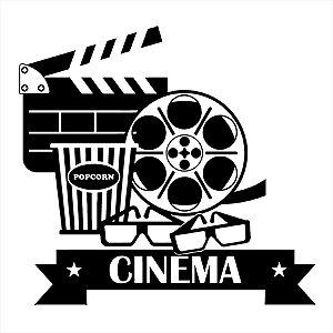 Adesivo - Cinema Popcorn Claquete Filme Óculos 3D Cinema