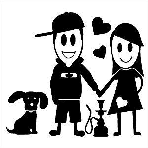 Adesivo - Família Adesivo Homem Mulher Narguile Cachorro Coração Família