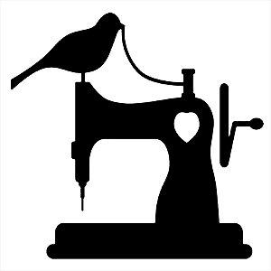 Adesivo - Máquina De Costura Pássaro Coração Profissões
