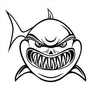 Adesivo - Shark Tubarão Mostrando Os Dentes Natureza