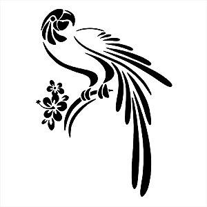 Adesivo - Pássaro E Flores Papagaio Arara Natureza