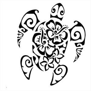 Adesivo - Tartaruga Marinha Desenhos Tribais E Flores  Natureza