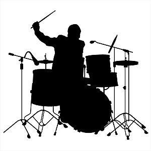 Adesivo - Baterista Tocando Bateria Música
