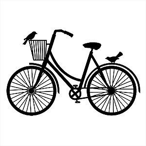 Adesivo - Bike Bicicleta Com Cestinho E Pássaros Esporte