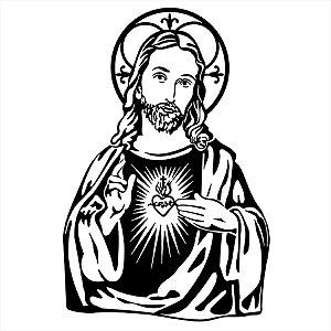 Adesivo - Jesus Cristo Coração Jesus Christ Heart Religião
