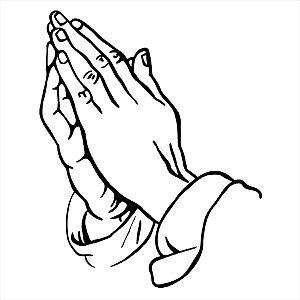 Adesivo -  Mãos Unidas Reza Oração Fé Religião
