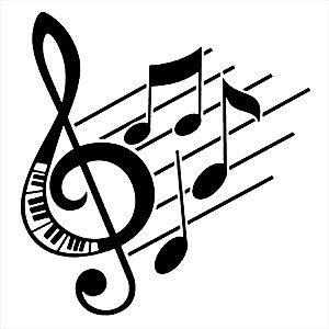 Adesivo - Notas Musicais Clave De Sol Piano Pauta Partitura Música