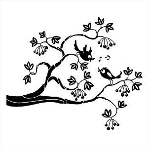 Adesivo - Pássaros Cantando Em Galho De Árvore Com Flores E Frutos Anime/Mangá