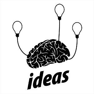 Adesivo - Ideas Brain Light Bulbs Idéias Cérebro Lâmpadas Business