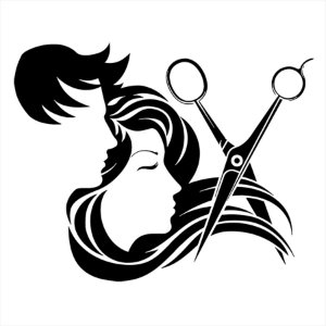 Adesivo - Cabeleireiro Tesoura Homem E Mulher Profissões