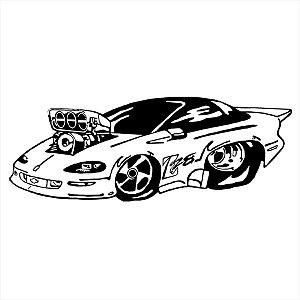 Adesivo - Carro Silhueta Silhouette Cartoon Turbo Automóveis