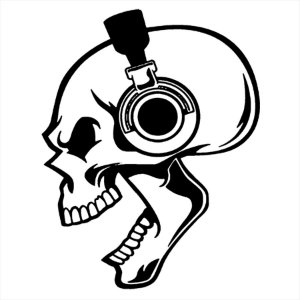 Adesivo - Caveira Ouvindo Música Crânio Skull Headphones Terror Cinema