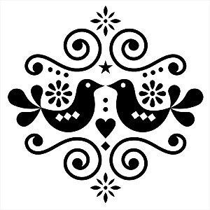 Adesivo - Pássaros Flores E Curvas Natureza