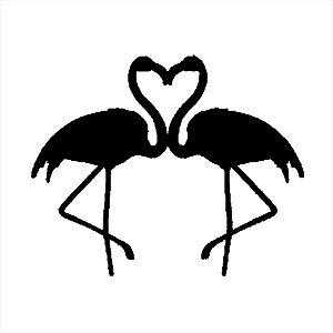 Adesivo - Flamingos Coração Heart Amor