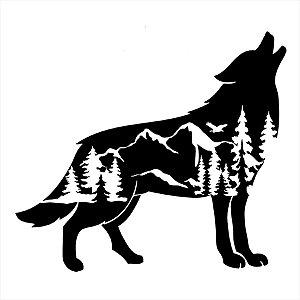Adesivo - Logo Uivando Sombra Paisagem Montanhas Wolf Mountains Natureza