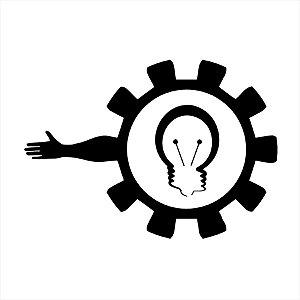 Adesivo - Lâmpada Engrenagem Braço Mão Ideia Light Bulb Arm Hand Business